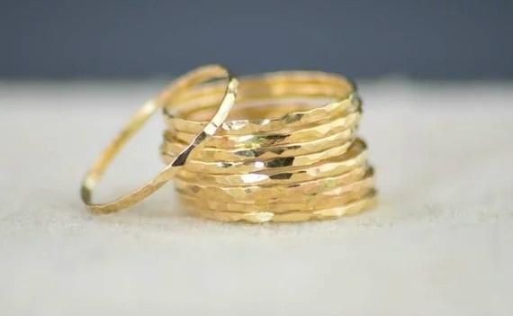 Sterling, thingoldring, stackablering, gold