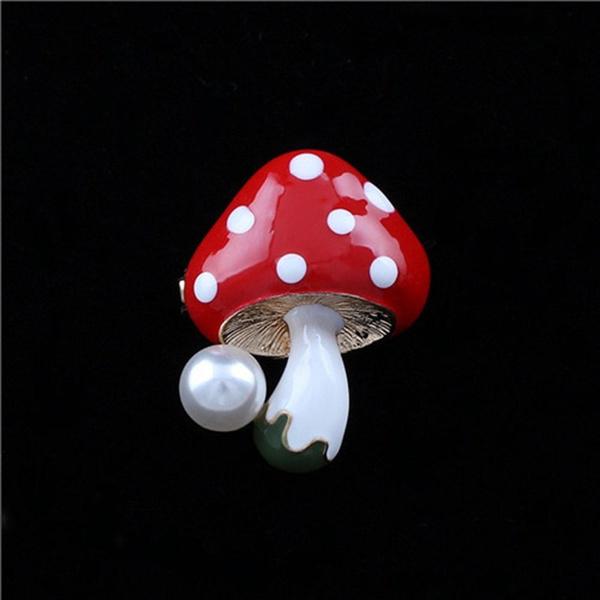 enamrlbroochpin, mushroombrooch, Fashion, Mushroom