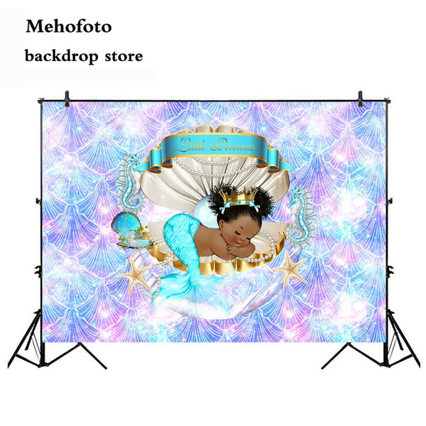 Mehofoto Royal Mermaid Princess Backdrop Under the Sea Shell Crown Baby Shower Background 7x5ft Vinyl Little Black Girl Birthday Party Banner Backdrops