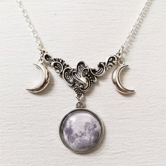 wiccan, starrysky, triplegoddesspendant, Jewelry