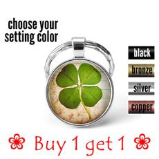 Green, Clover, Irish, silverkeyring