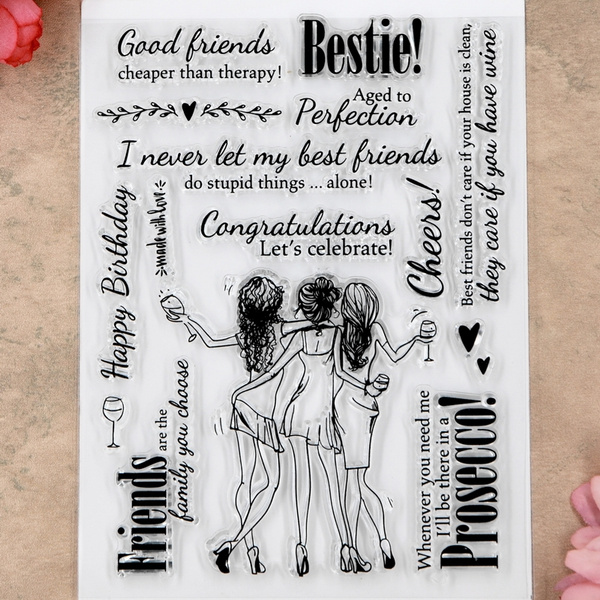 Card, bestfriend, goodfriend, rubberstamp