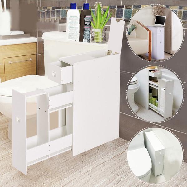 Narrow Design Wood Floor Bathroom, Narrow Bathroom Floor Cabinet With Drawers