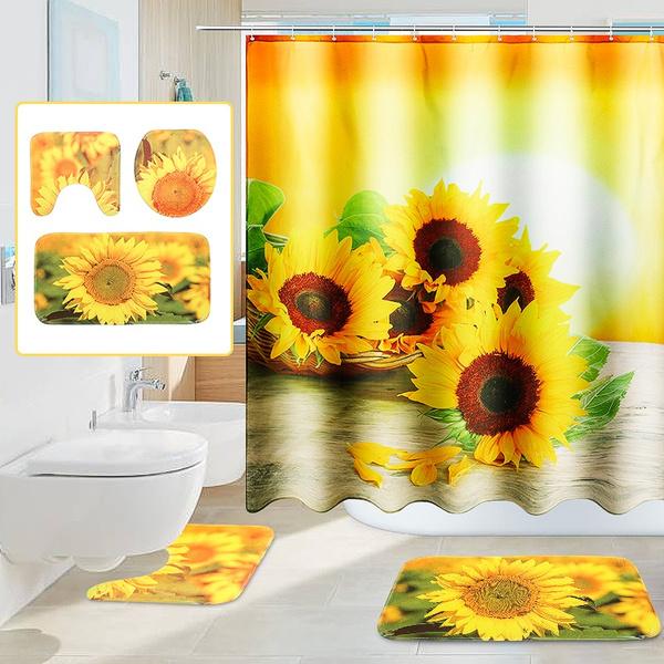 Polyester, Bathroom Accessories, toiletmat, Sunflowers