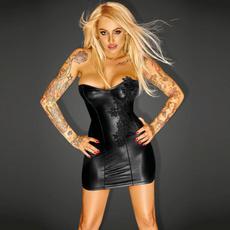 Mini, faux leather dress, Dress, Strapless Dress