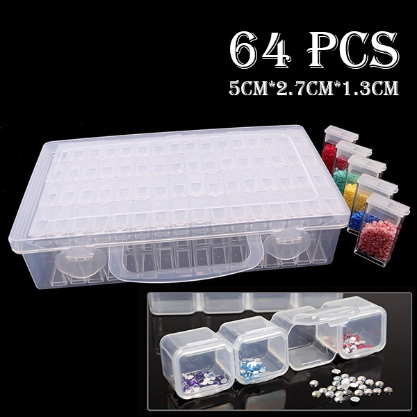 Beads Organizer Storage Case with Label and 1Tweezers and 3 Diamond Stitch pens and 10 Glue Clay. 64 Grids Diamond Painting Drill Storage Container