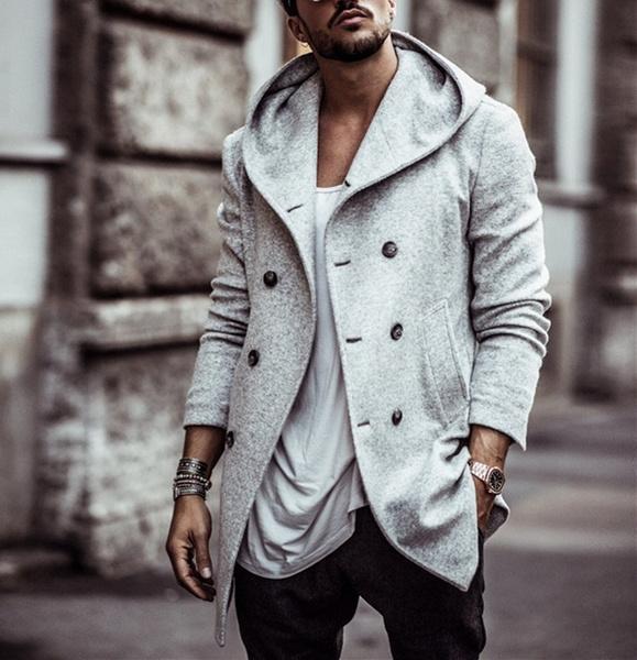 woolen coat, Casual Hoodie, wool coat, Long Sleeve