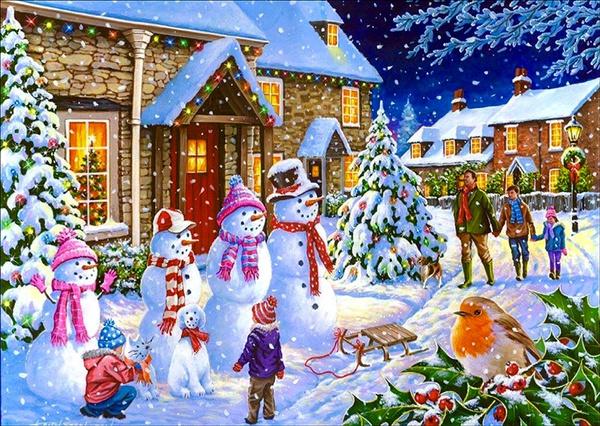 crossstitch, snowman, DIAMOND, art