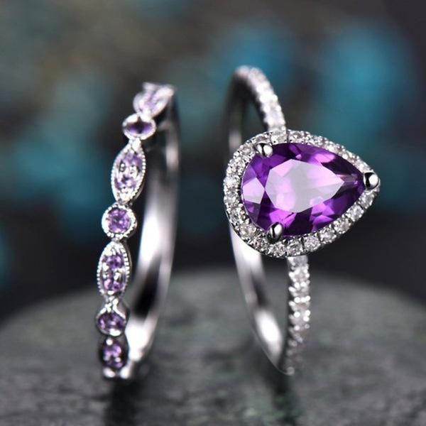 Couple Rings, DIAMOND, Jewelry, purple