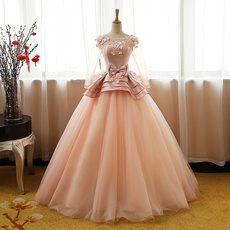 pink, gowns, Sweet Dress, Long sleeved