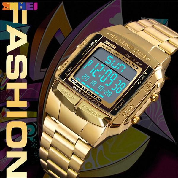 Steel, calendardisplay, led, fashion watches