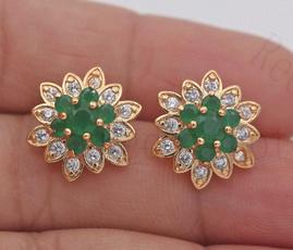 yellow gold, jadeearring, Gemstone Earrings, topazearring
