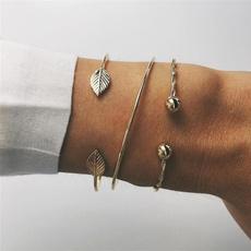 bangle bracelet set, openingbanglebracelet, Adjustable, leaf