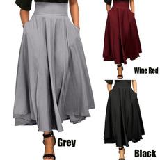 long skirt, Fashion, high waist, Skirts
