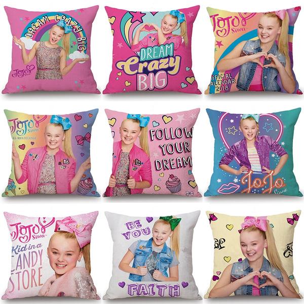 Cute Girl Jojo Siwa Lovely Girl Jojo Siwa Printed Kissen Oreiller Travesseiro Pillow Sofa Car Bed Sofa Pillow Case Bedroom Decoration Cushion Cover Wish