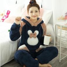 cute, hooded, Winter, women's pajamas