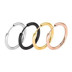 Steel, boygirlsimplecircleearring, fashionablearcsurfaceearbuckle, gold
