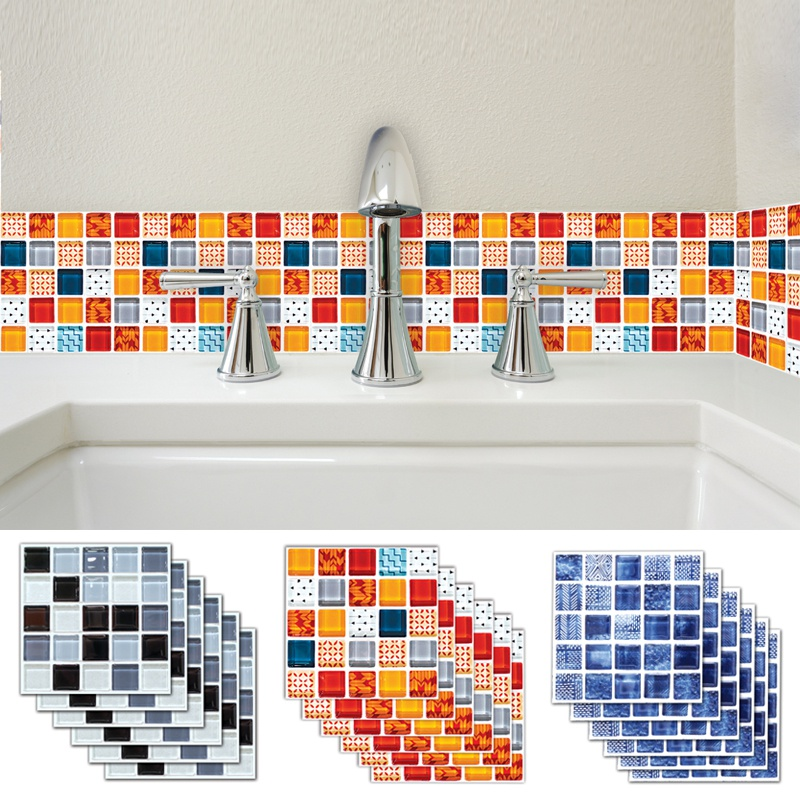 Self Adhesive Mosaic Tile Wall Sticker Waterproof Kitchen Decals Decor 10/&20cm