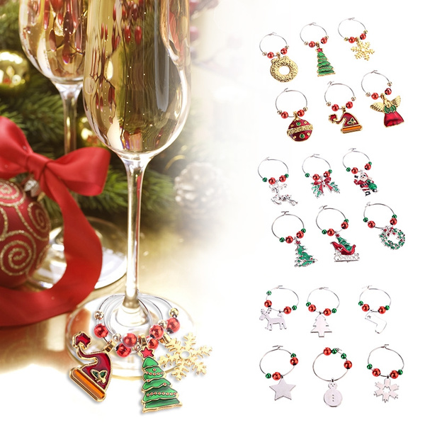 6pcs Set Christmas Cup Ring Christmas Wine Glass Decoration Charms Party New Year Cup Ring Christmas Decorations For Home Wish