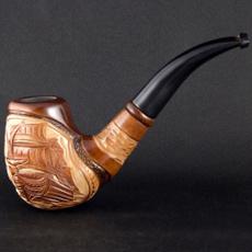 woodenpipe, smokingpipe, carved, longpipe