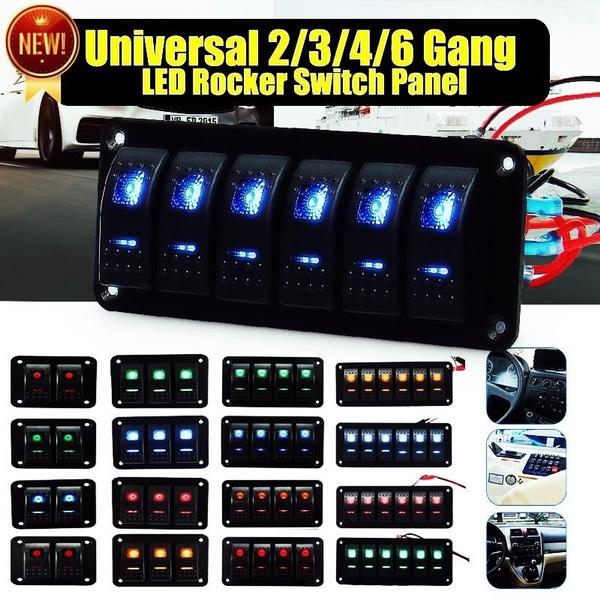 24V Ersatz Auto geändert 4 Gang Rocker Switch Panel 5P grüne LED 12V