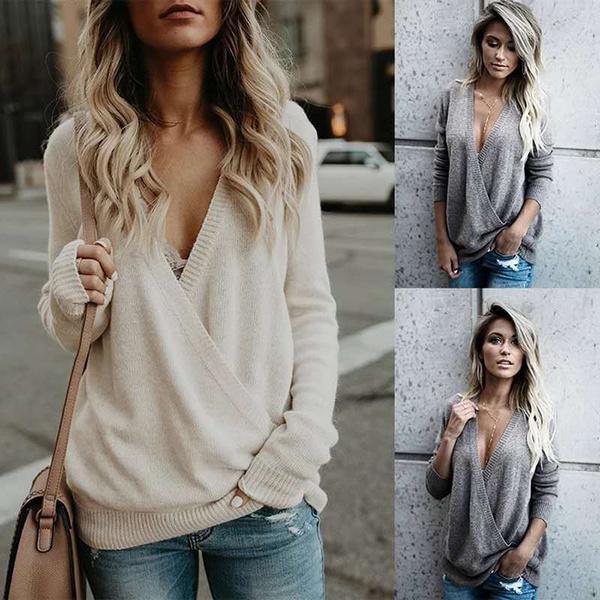 ladies clothes, Women Sweater, Winter, Deep V-neck Dress