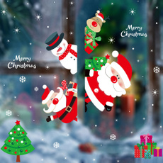 snowmandecoration, electrostaticsticker, Christmas, holidaydecoration