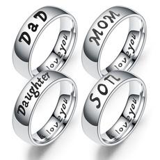 Steel, Stainless Steel, Women Ring, Family