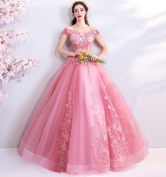 pink, gowns, promgown, Lace