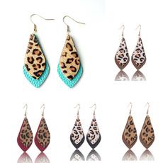 Fashion, leaf, leopardearring, dropleatherearring