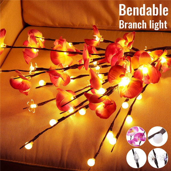70cm 20 Led Lights Battery Operated Phalaenopsis Twig Lighted Tree Light Tabletop Tree Vase Filler Lighted Branches Decorative Lights Lamp Fairy String Light Color Warm White Colorful Wish