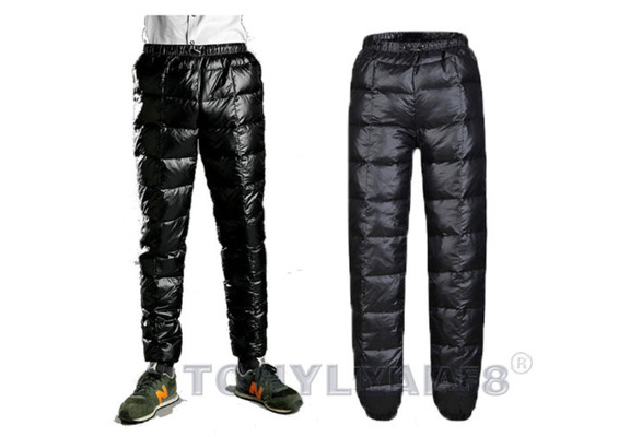 Mens Duck Down Puffer Trousers Pants Padded Quilted Warmer Winter Outdoor Casual