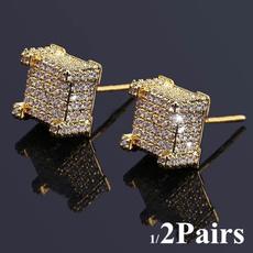 hip hop jewelry, microinlaidzirconhiphopjewelry, gold, Stud Earring