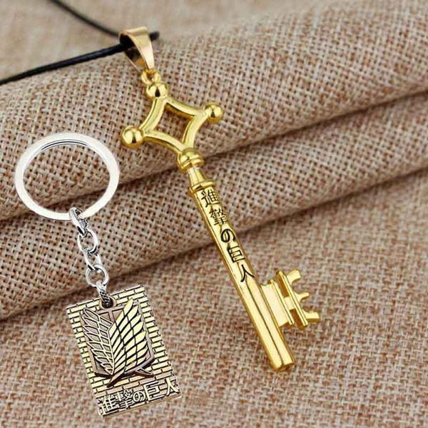 Attack On Titan Eren Jaeger Key Chain Pendant Leather Anime Cosplay Necklace