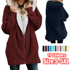 casual coat, Casual Hoodie, fluffyhooded, Long Coat
