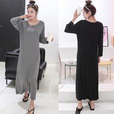 crewnecklooseskirt, women long sleeve dress, Sleeve, Long Sleeve