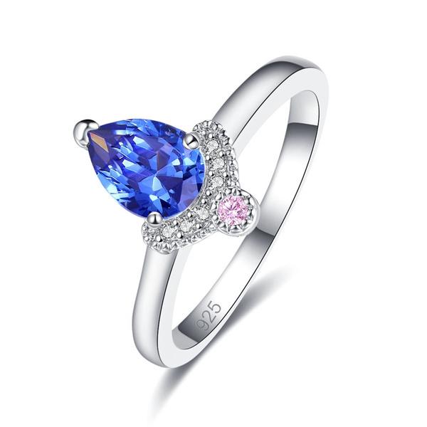 Sterling, pink, blueweddingjewelry, 925 silver rings