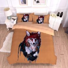3pcsbeddingset, 3dwolf, Home & Living, Bedding