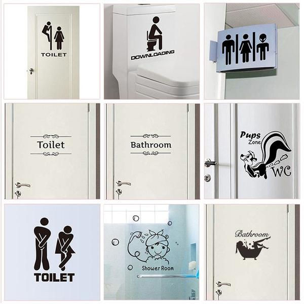 Wc Toilet Bathroom Entrance Sign Door, Bathroom Door Decals