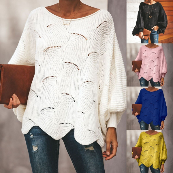 Bat, Plus Size, sweaters for women, Hollow-out