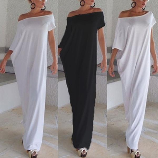 Bat, one shoulder dress, long dress, Dress
