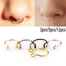 Steel, fakepiercing, nosejewelry, Clip