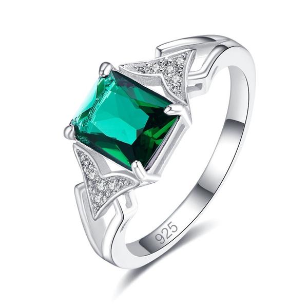 Sterling, rainbow, quartz, emeraldring