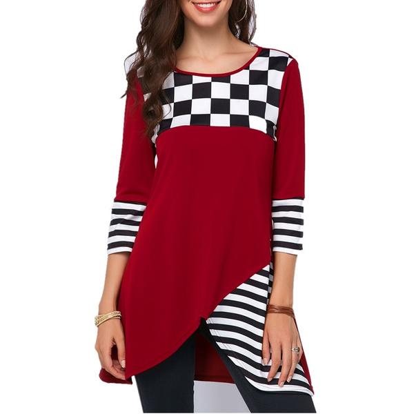 plaid shirt, Plus Size, Spring/Autumn, Office