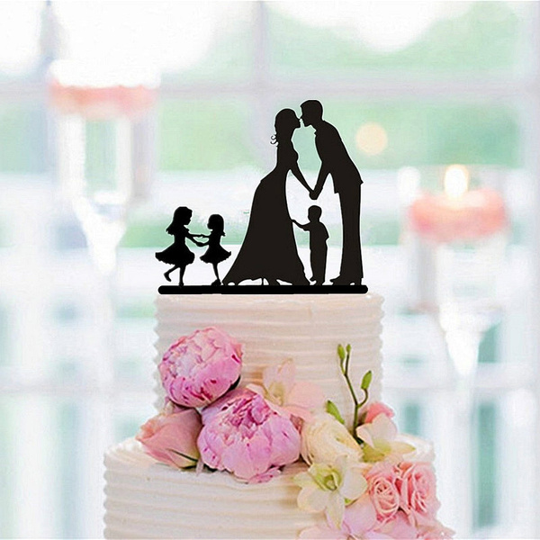 New Family Style Cake Topper Family Silhouette Wedding Cake Topper Bride And Groom Couple Topper Wedding Anniversary Decor Wish