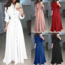pilecollar, slim, long dresses, ladies clothes