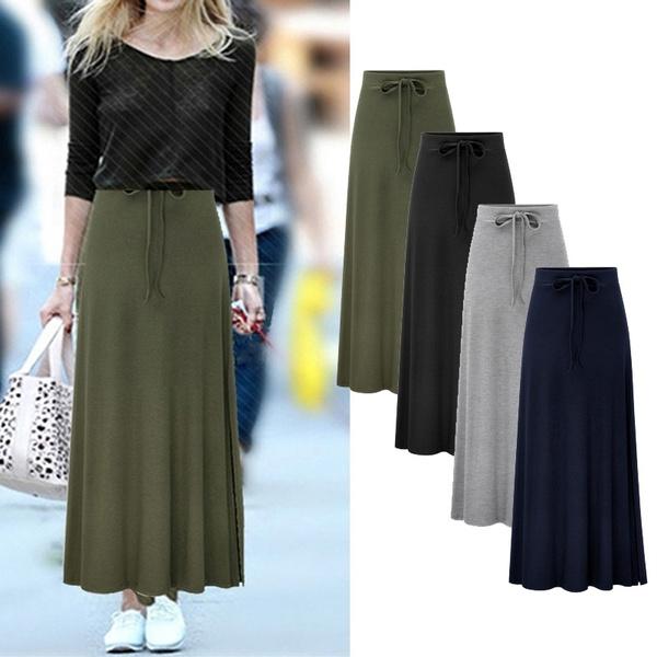 long skirt, Fashion, high waist, street style