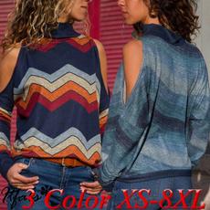 blouse, casualstriped, Fashion, loosepullovershirt
