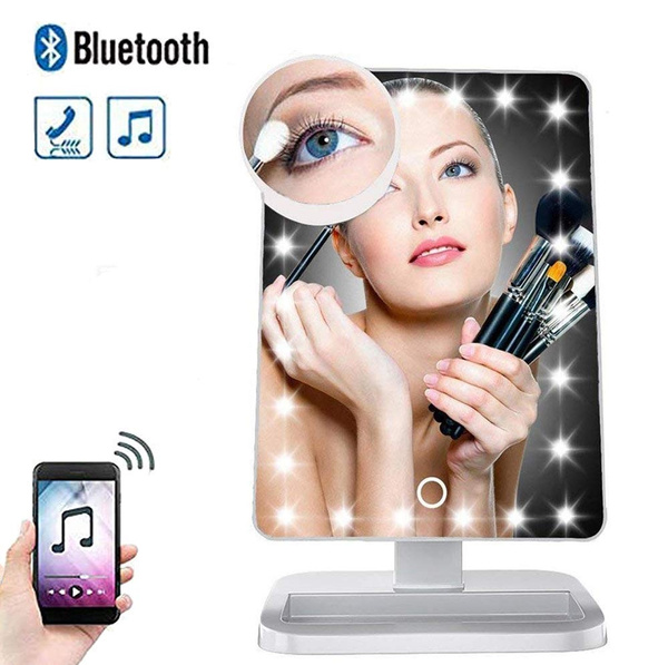 Led Light Up Makeup Mirror Vanity, Makeup Mirror With Light And Bluetooth Speaker