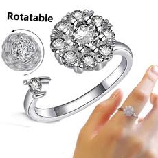 adjustablering, Crystal, Women Ring, 925 silver rings